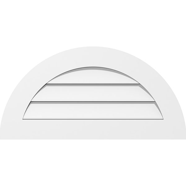 Half Round Surface Mount PVC Gable Vent Standard Frame