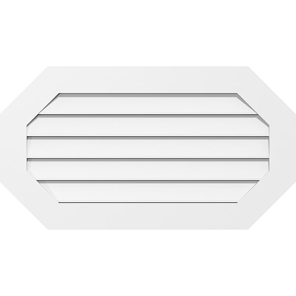 Horizontal Elongated Octagon Surface Mount PVC Gable Vent Standard Frame