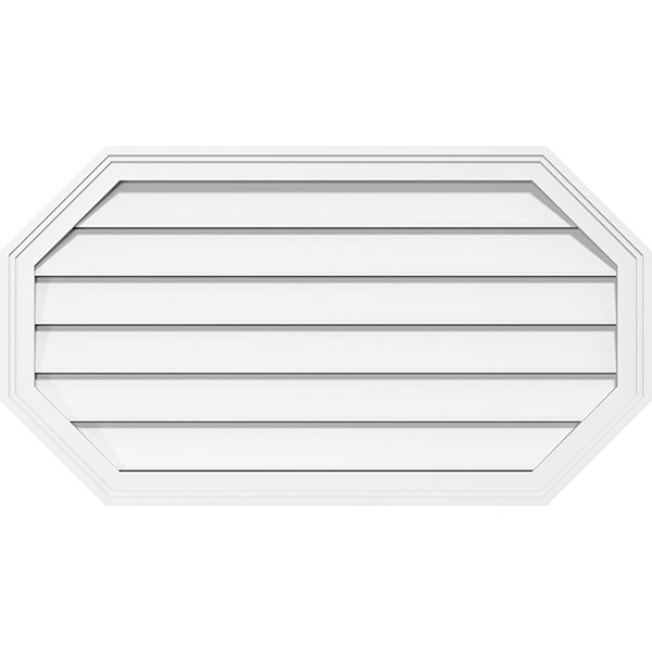 Horizontal Elongated Octagon Surface Mount PVC Gable Vent Brickmould Frame