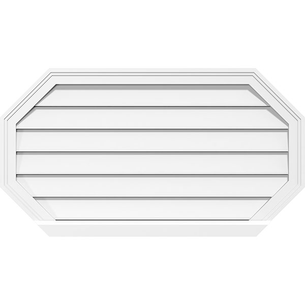 Horizontal Elongated Octagon Surface Mount PVC Gable Vent Brickmould Sill Frame
