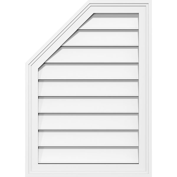 Half Octagon Top Left Surface Mount PVC Gable Vent Brickmould Frame
