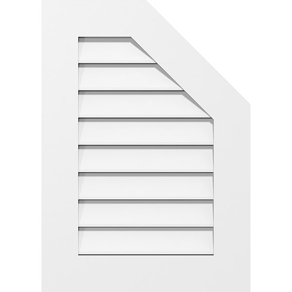 Half Octagon Top Right Surface Mount PVC Gable Vent Standard Frame