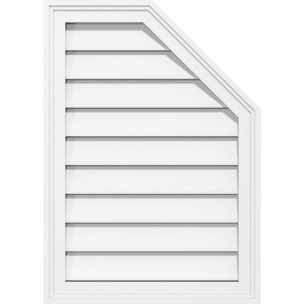 Half Octagon Top Right Surface Mount PVC Gable Vent Brickmould Frame