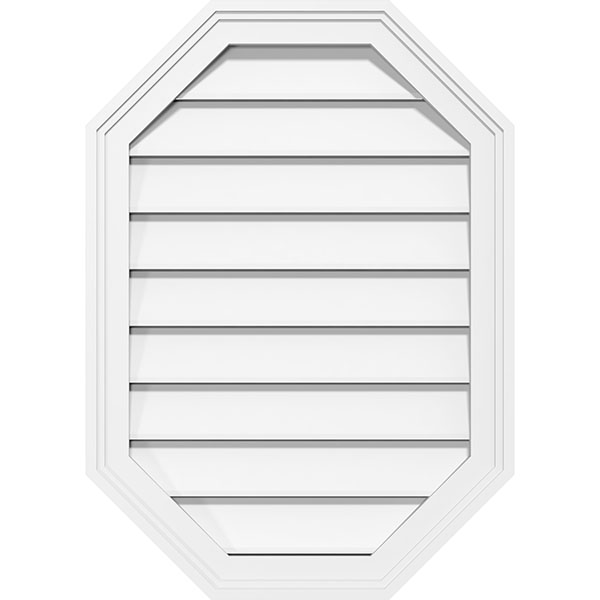 Vertical Elongated Octagon Surface Mount PVC Gable Vent Brickmould Frame
