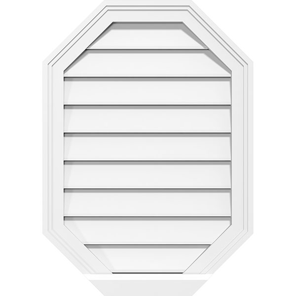 Vertical Elongated Octagon Surface Mount PVC Gable Vent Brickmould Sill Frame