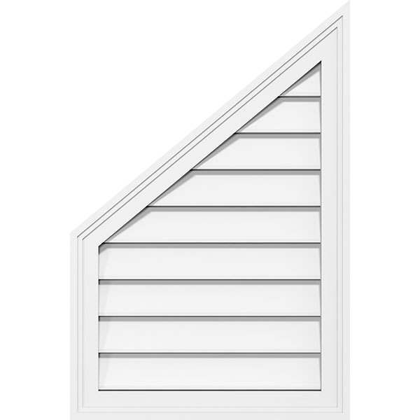 Half Peaked Top Left Surface Mount PVC Gable Vent Brickmould Frame