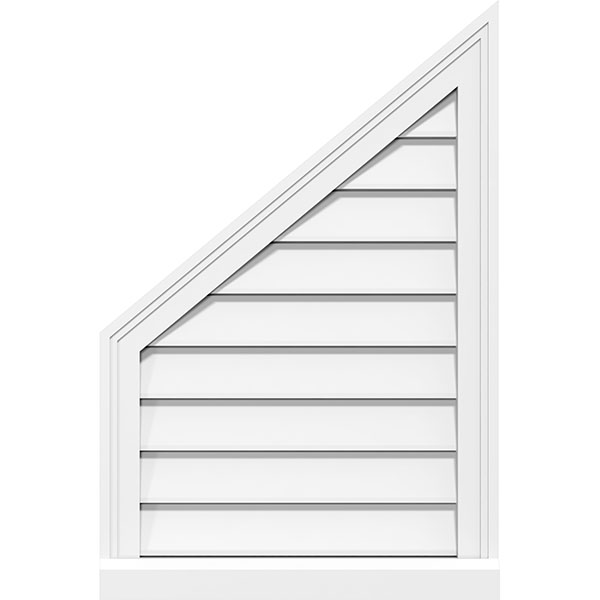 Half Peaked Top Left Surface Mount PVC Gable Vent Brickmould Sill Frame