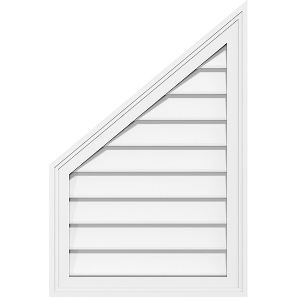 Factory Primed White Pitch 12//12-36 W x 18 H Inch Ekena Millwork GVPTR36X1801SN Triangle Surface Mount PVC Gable Vent