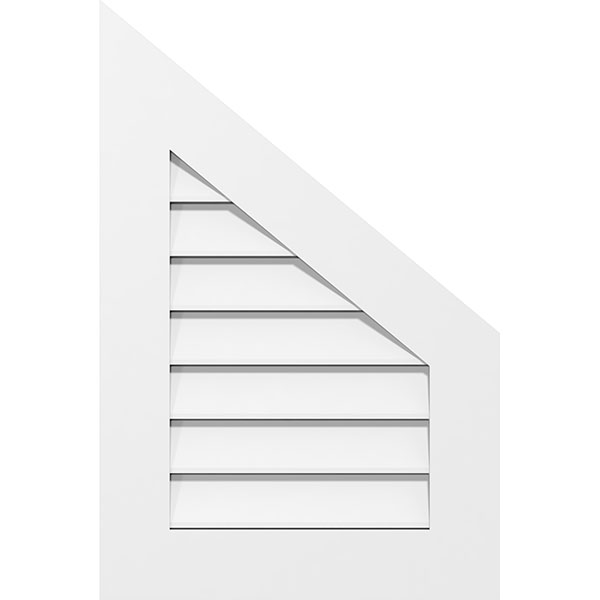 Half Peaked Top Right Surface Mount PVC Gable Vent Standard Frame