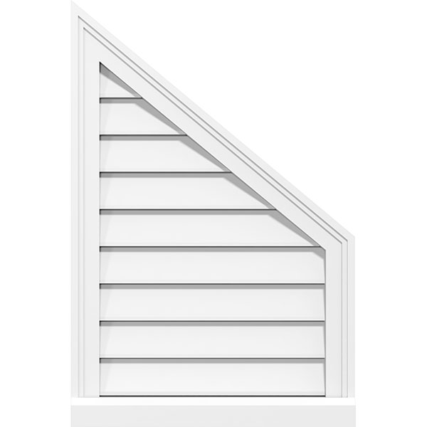 Half Peaked Top Right Surface Mount PVC Gable Vent Brickmould Sill Frame
