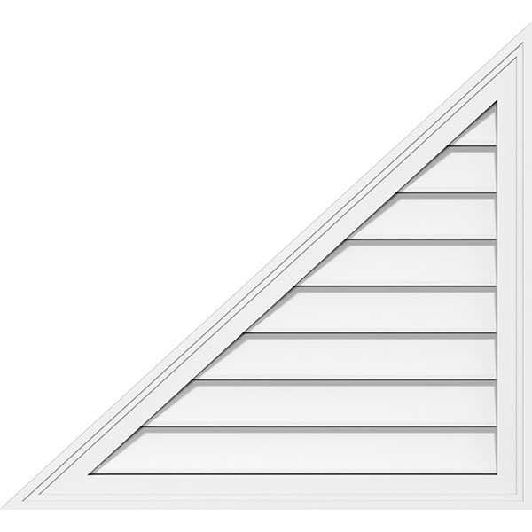 Right Triangle Left Side Surface Mount PVC Gable Vent Brickmould Frame
