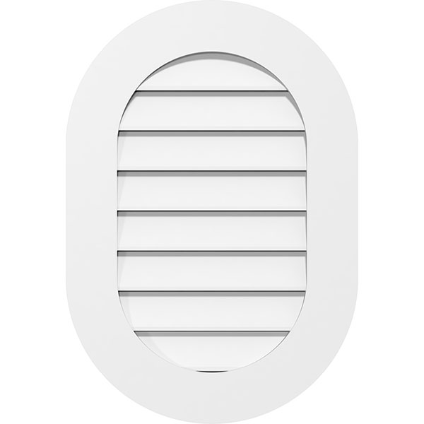 Vertical Round Ended Surface Mount PVC Gable Vent Standard Frame