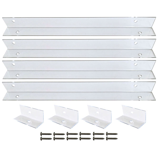 Clear Polycarbonate Mounting Brackets for PVC, Composite & Wood Shutters (4-Brackets)