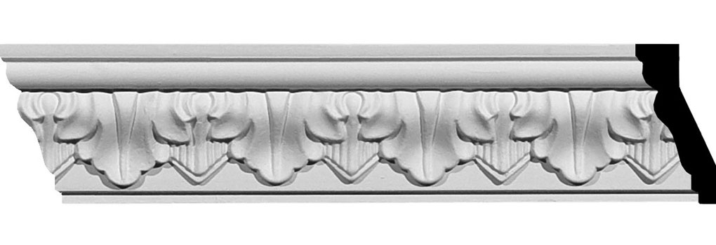 "2 5/8""H x 1 1/4""P x 2 7/8""F x 94 1/2""L Ashur Leaf Crown Moulding"