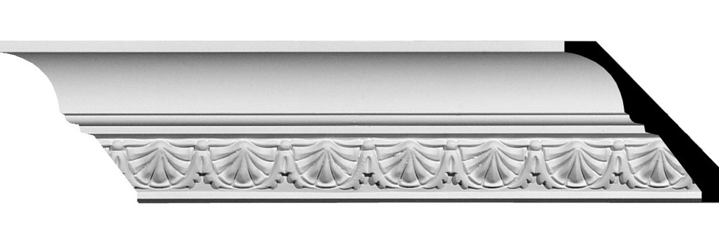 "2 7/8""H x 2 3/4""P x 4""F x 94 1/2""L Shell Crown Moulding"