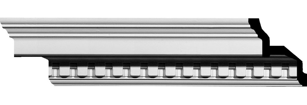 "4 1/2""H x 4 1/2""P x 6 3/8""F x 94 1/2""L, (1 3/8"" Repeat) Dentil Crown Moulding"