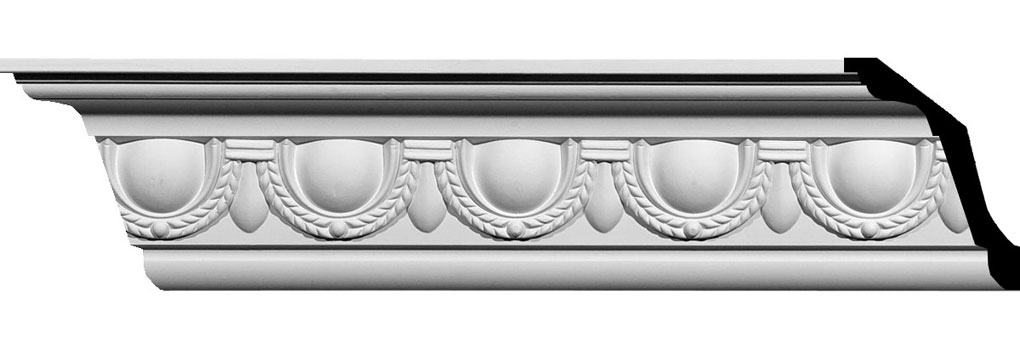 "5 1/4""H x 4""P x 6 5/8""F x 94 1/2""L Federal Egg and Dart Crown Moulding"