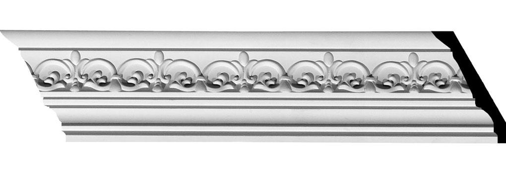 "3 1/2""H x 3 7/8""P x 5 1/4""F x 94 1/2""L Lisbon Dentil Crown Moulding"