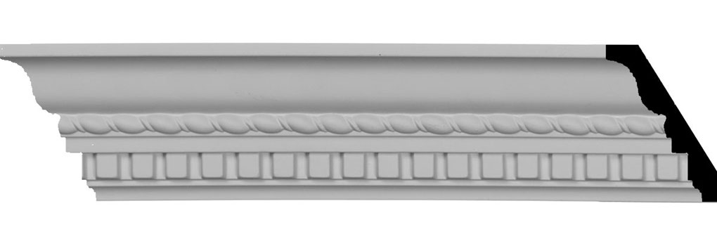 "3 1/4""H x 2 3/8""P x 4""F x 94 1/2""L Bulwark Dentil & Rope Crown Moulding"