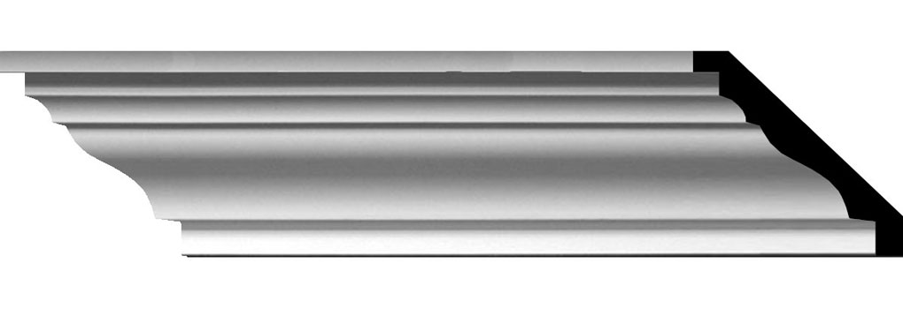 """4""""H x 4 5/8""""P x 6 1/8""""F x 96""""L Classic Smooth Crown Moulding"""