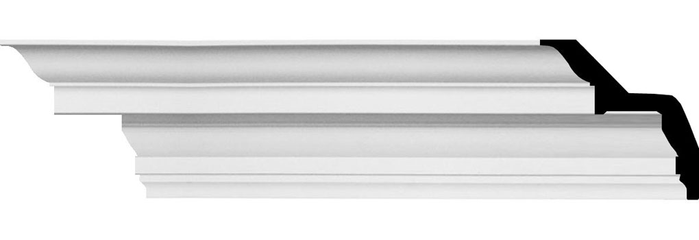 """5""""H x 5""""P x 7""""F x 94 1/2""""L Felix Traditional Smooth Crown Moulding"""