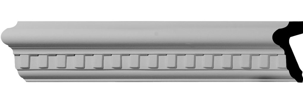 "2 1/2""H x 1 1/8""P x 94 1/2""L Swindon Dentil Chair Rail"