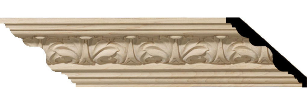 "1 1/8""H x 2 3/8""P x 3 1/4""F x 94 1/2""L Acanthus Leaf Carved Wood Crown Moulding"