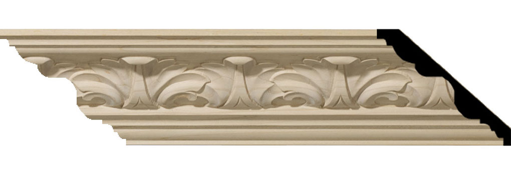 "3 1/4""H x 3 5/8""P x 5""F x 94 1/2""L Acanthus Leaf Carved Wood Crown Moulding"
