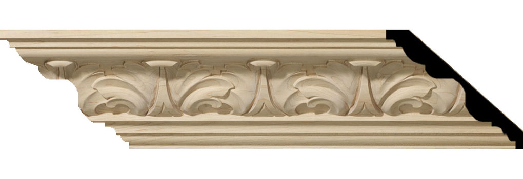"4 1/2""H x 5""P x 6 3/4""F x 94 1/2""L Acanthus Leaf Carved Wood Crown Moulding"