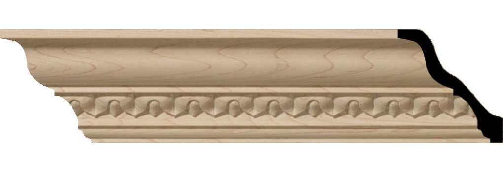 "2 3/8""H x 2 1/4""P x 3 1/4""F x 94 1/2""L Lanarkshire Carved Wood Crown Moulding"