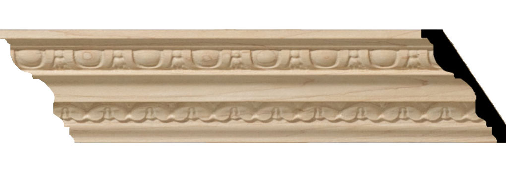 "3""H x 2 1/4""P x 3 1/4""F x 94 1/2""L Bedford Carved Wood Crown Moulding"