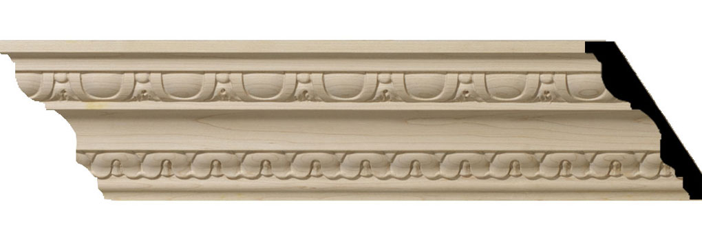 "4""H x 2 7/8""P x 5""F x 94 1/2""L Bedford Carved Wood Crown Moulding"