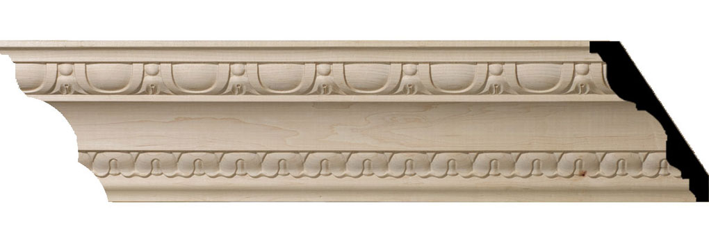 "5 1/2""H x 4""P x 6 3/4""F x 94 1/2""L Bedford Carved Wood Crown Moulding"