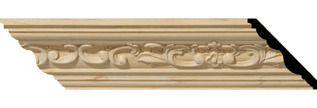 "2 1/4""H x 2 3/8""P x 3 1/4""F x 94 1/2""L Medway Carved Wood Crown Moulding"