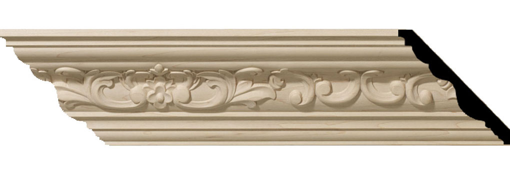 "3 1/2""H x 3 5/8""P x 5""F x 94 1/2""L Medway Carved Wood Crown Moulding"