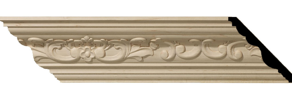 "4 3/4""H x 4 7/8""P x 6 3/4""F x 94 1/2""L Medway Carved Wood Crown Moulding"