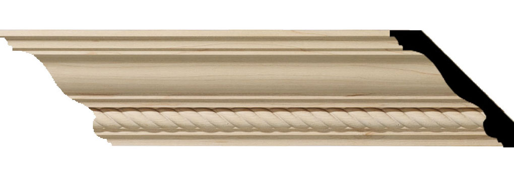 "3 1/2""H x 3 5/8""P x 5""F x 94 1/2""L Andrea Rope Carved Wood Crown Moulding"