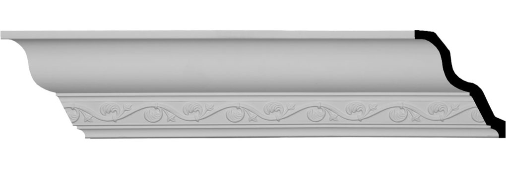 "3 1/2""H x 3 3/8""P x 4 3/4""F x 94 1/2""L, (3 1/4"" Repeat), Cornelia Crown Moulding"