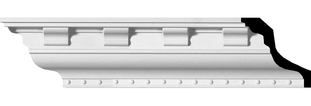 "3""H x 3""P x 4 1/4""F x 94 1/2""L, (3"" Repeat), Dentil Crown Moulding"