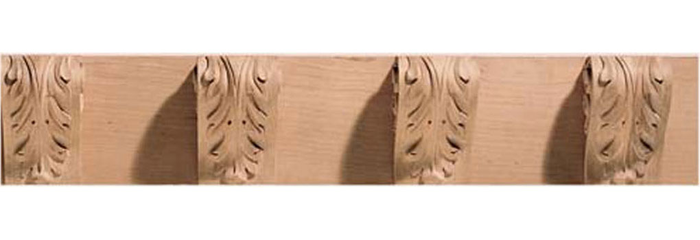 "5""W x 3 3/8""D, 7 1/2"" Repeat, Molding Acanthus Dentil, 8' Length,"