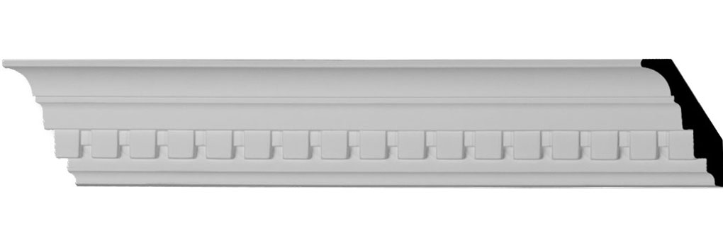 "3""H x 2""P x 3 5/8""F x 94 1/2""L Dentil Crown Moulding"