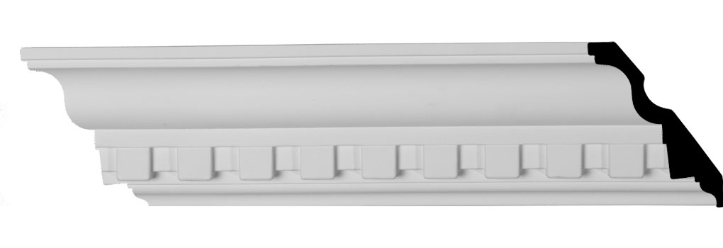 "4 3/8""H x 3 1/2""P x 5 5/8""F x 94 1/2""L Dentil Crown Moulding"