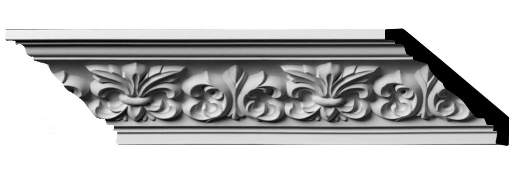 "3 1/4""H x 3 1/4""P x 4 3/4""F x 94 1/2""L, (5 7/8"" Repeat) Fleur De Lis Crown Moulding"
