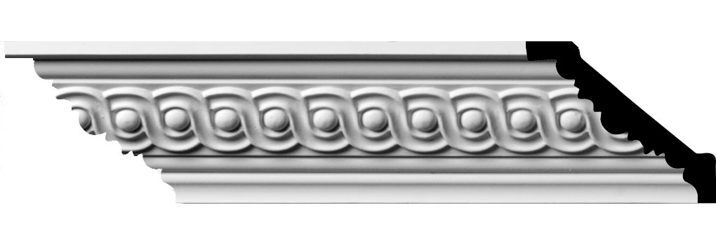 """2 1/4""""H x 2 1/2""""P x 3 5/8""""F x 96""""L, (1 5/8"""" Repeat) Foster Running Coin Crown Moulding"""