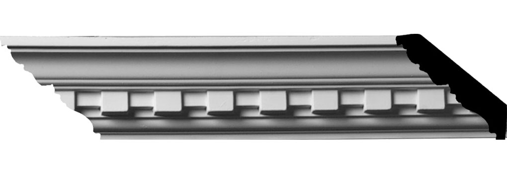"2""H x 2""P x 2 7/8""F x 94 1/2""L, (1 1/4"" Repeat) Dentil Crown Moulding"