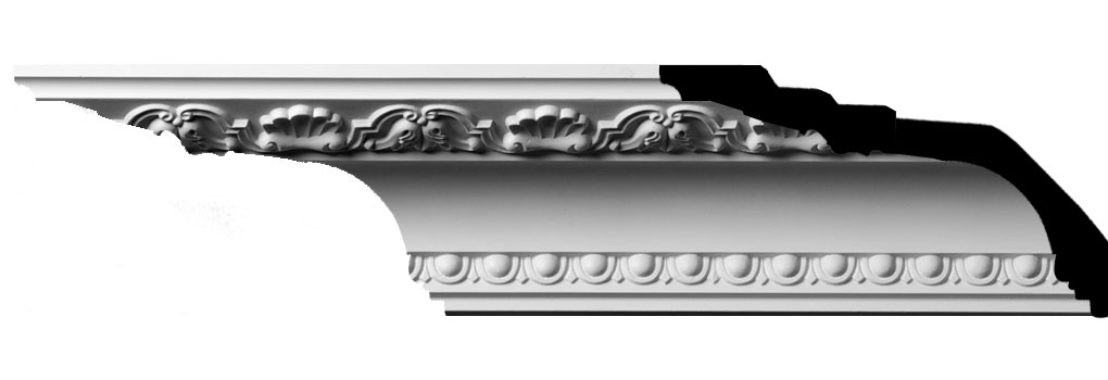 "2 3/4""H x 5 1/8""P x 5 3/4""F x 94 1/2""L, (4 3/4"" Repeat) Artis with Shells Crown Moulding"