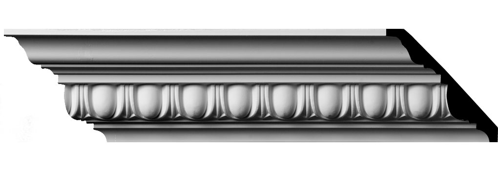 "3 3/4""H x 4""P x 5 3/8""F x 94 1/2""L, (1 5/8"" Repeat) Egg & Dart Crown Moulding"