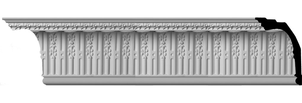 "11 3/8""H x 8 1/8""P x 13 7/8""F x 94 1/2""L, (3"" Repeat) Springtime Crown Moulding"