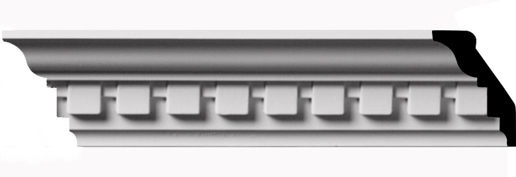 "2 3/4""H x 1 7/8""P x 3 1/4""F x 94 1/2""L, (1"" Repeat) Dentil Crown Moulding"
