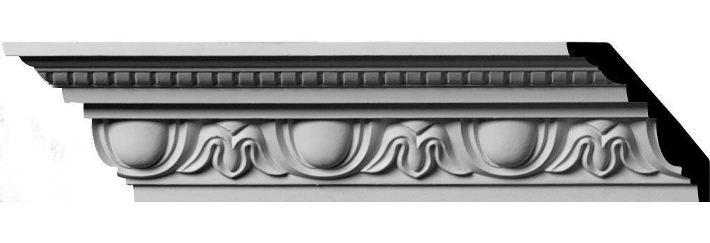 "3 1/4""H x 2 3/4""P x 4 3/8""F x 94 1/2""L, (3 7/8"" Repeat) Traditional Egg & Dart with Beads Crown Moulding"